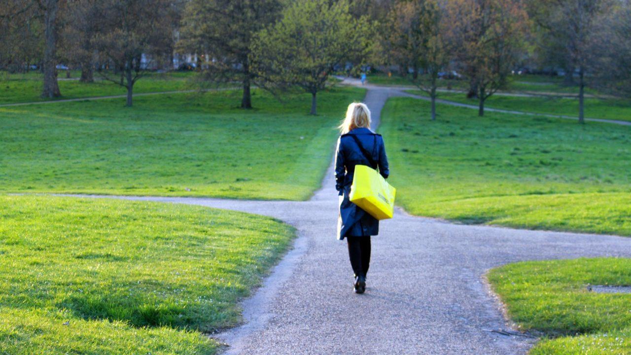 A woman walking on a path