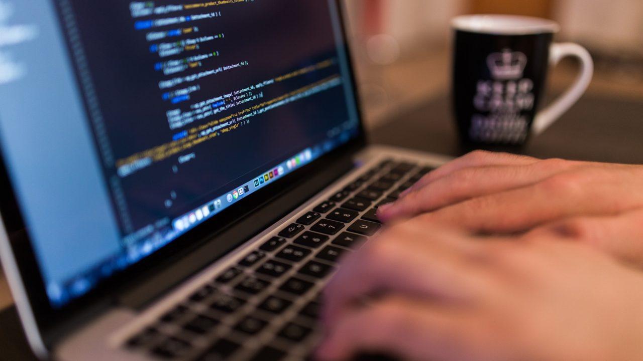 Coding on a laptop
