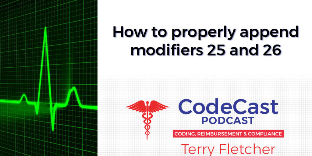 How to properly append modifiers 25 and 26